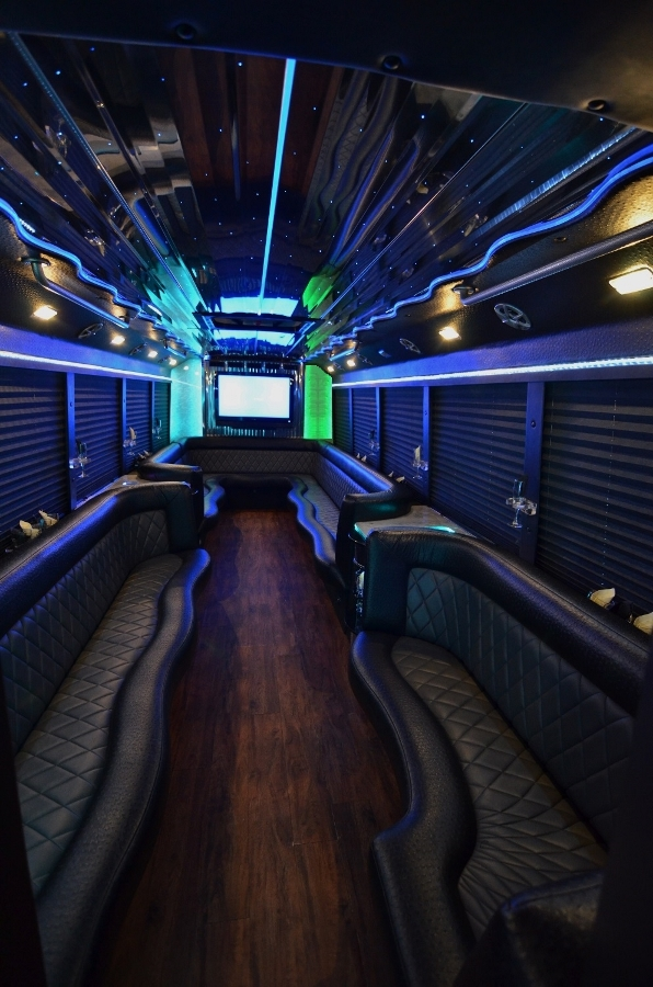 26 passenger party bus white rstq. Black Bedroom Furniture Sets. Home Design Ideas